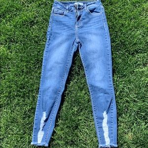 cute stretchy jeans with rips at bottom